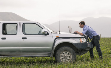 A man uses his laptop computer on the bonnet of his ute while several farm dogs look on from the tray